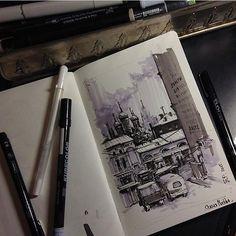 Старая Москва от @ekaterina_assemblage Спасибо за хэштег! #арт #рисунок #иллюстрация #скетч by topcreator
