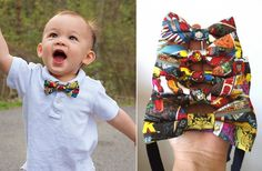 One of our best sellers! Love Superheros? This is for you!  These bow ties are made with 100% cotton material, lined to add crispness and strength, and available in sizes infant through adult. Made on a black cotton strap with a hook, eye, and slider to further adjust neck size. Because of the layout of the fabric, each bow tie will be different; however, your choice of superhero will be guaranteed in the center of each bow tie.