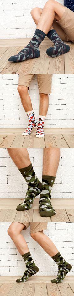 [COCOTEKK]5 Colors Korean New Men Military Socks Graffiti Green Mens Cotton Socks Jungle Style Winter Classic Camouflage Socks