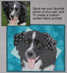 Pet Portrait from Your Photograph - Custom Quilted Portrait of your Pet. $160.00, via Etsy.