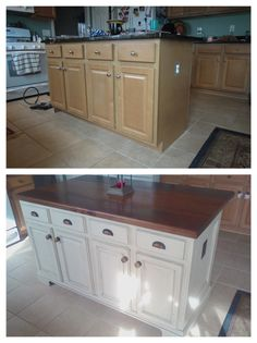 DIY kitchen island remodel – Addicted2projects Kitchen Island Molding, Kitchen Island Makeover, Diy Kitchen Island, Wood Kitchen Cabinets, Painting Kitchen Cabinets, Kitchen Furniture, Kitchen Ideas, Kitchen Facelift, Painted Cupboards