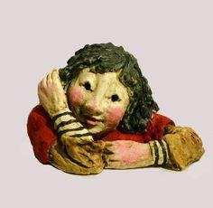 Sculptures Céramiques, Ceramic Figures, Ferrat, Hand Painted Ceramics, Pottery Ideas, Artist, Faces, Painting, Fictional Characters