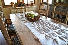 Rustic Smocked Table Runner From a Drop Cloth - Using a piece of leftover drop cloth from another project I made rustic smocking for a table runner. This idea a…