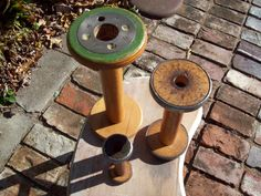"vintage spools to store twine, set of 3,  varying sizes 6""-11"", $35"