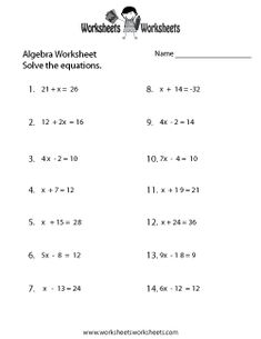 Algebra worksheets, Algebra and Equation on PinterestMath · Simple Algebra Worksheet