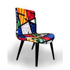 Colorful patterned chair designed by Romero #Britto #furnituredesign