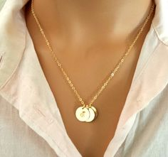 Initial Disc Necklace, Personalized Monogram Necklace,14k Gold Filled Necklace, Gold Initial Disc Pendant, Statement,strand, Holiday GIFTS - Beautiful Necklace Photo