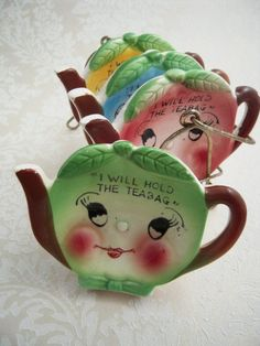 "1950's Ceramic Teapot ""Teabag Holders"" Grandma had these, I use them all the time!"