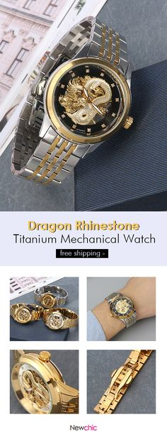 [Newchic Online Shopping] 50% OFF Dragon Rhinestone Titanium Watch