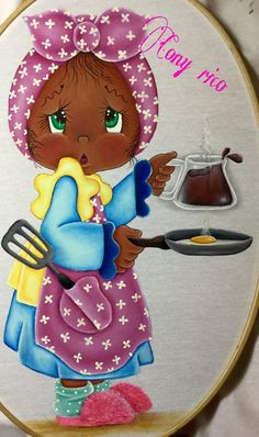 Niña con desayuno Tole Painting, Fabric Painting, Sewing Projects, Projects To Try, Diy And Crafts, Paper Crafts, Art Impressions Stamps, Applique Tutorial, African Crafts