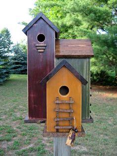 FoLk Art Primitive Saltbox House Harvest Gold Antique Red Olive Green 3 Nesting Box Colored Garden BIRDHOUSE