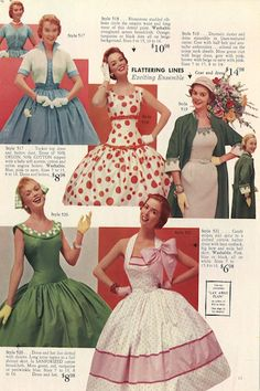 "The belted waistlines, cheerful patterns and full skirts featured throughout the Lana Lobell catalogs showed 1950s fashion at its finest. This page is from a 1955 edition of the fashion clothing catalog, called ""Summer Symphony of Fashions."""