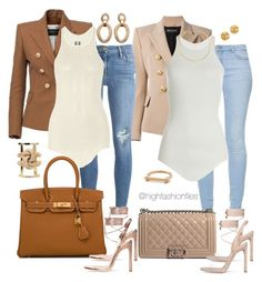 """Compelled"" by highfashionfiles ❤ liked on Polyvore featuring Balmain, Zara, Frame Denim, Chanel, Rick Owens, Hermès, Jennifer Zeuner and Elie Saab"