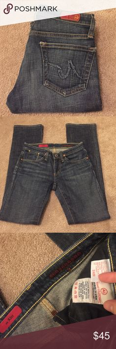 AG Adriano Goldschmied jeans! Super cute pair of gently worn AG Adriano Goldschmied jeans! Some wear on pant leg bottoms and overall, but good condition! Size 24R. Inseam 30. Smoke free home. AG Adriano Goldschmied Jeans