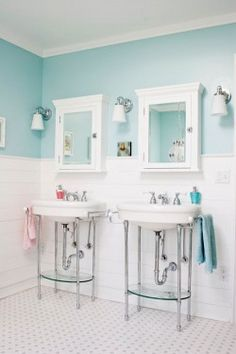 turquoise and white bathroom featured in Canadian House & Home; photography by Kim Christie; via Poppytalk}
