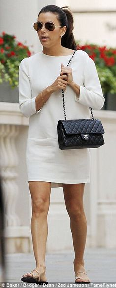 Love Eva in this day shift dress, raybans and chanel flap bag