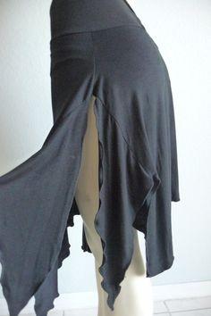Tango & Salsa Skirt black -- all Sizes to Order -asymmetric - Versitle Skirt…