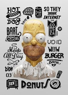 Perfeect wooden homer simpson, with plenty of age makes it appear that there is more to such a simple person.