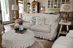 Linen slipcovers with grain sack pillows #slipcovers www.cedarhillfarmhouse.com