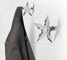 Fed up with the flat packed, MDF birch veneer finished world we live in? If so, then stop accessorising your home with uninspired IKEA functionality and put some punch back into your place with our Ninja Coat Hooks.  - http://thegadgetflow.com/portfolio/ninja-hooks-12/