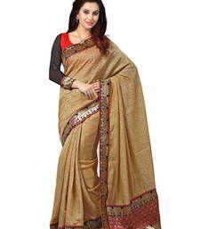 Buy beige plain banarasi silk saree With Blouse party-wear-saree online