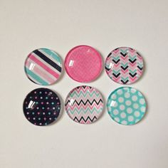 Set of 6 // Glass Magnets // Fridge Magnets // Refrigerator Magnets // Nautical Magnets // Office Decor // Kitchen Decor // 1 Inch Magnets