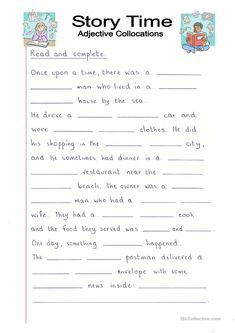 Read and Complete - Story Time with Adjectives - English ESL Worksheets English Creative Writing, English Writing Skills, English Reading, English Lessons, English Vocabulary, Learn English, English Class, English Worksheets For Kids, 2nd Grade Worksheets