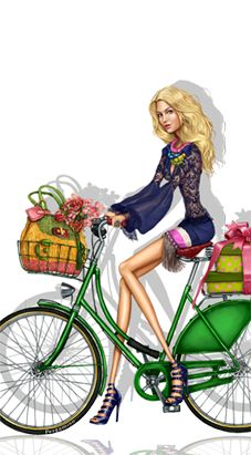 Green Bike And Basket Of Flowers ~ Pergamino. Moda Fashion, Fashion Art, Girl Fashion, Fashion Design, Moda Paris, Moda Chic, Bicycle Art, Fashion Sketches, Fashion Illustrations