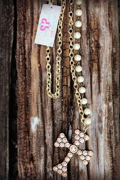 Pink Panache Gold and Pearl Cross Necklace - The Lace Cactus