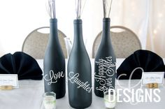Love, Laughter and Happily Ever After Wedding Wine Bottle Centerpiece Vinyl Decal Decorations