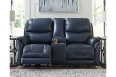 Dellington Power Reclining Loveseat with Console Blue Leather Couch, Leather Loveseat, Real Leather, Reclining Sectional With Chaise, Loveseat Recliners, At Home Store, Home Living Room, Love Seat, Console