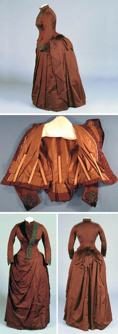 """1888 Wedding dress made by and worn by Ella Pitkin for her own wedding. Brown silk faille. Assymetrical bodice front w/velvet trim and bronze-colored glass beads in stylized leaf design. Tight-fitting, slightly curved sleeves w/bead appliqué and velvet triangle at wrists. Brown cotton twill bodice lining. Assymetrically draped skirt w/1.5"""" wide ruffle of box-pleated self-fabric at hem. Skirt lined with glazed brown cotton. Via Connecticut Historical Society."""
