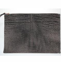 StudiosbyJ C&P Clutch $154USD www.studiosbyj.com Grey Natural leather oversized clutch from STUDIOSBYJ