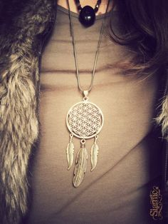 flower of life dreamcatcher necklace