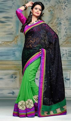 G3fashions Pastel green black brasso georgette embroidered designer saree Price: INR RS 2593