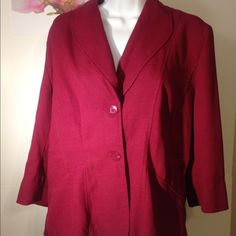 T. Milano brand Ladies Blazer, Red T. Milano brand Red Ladies Blazer. Fastens in front with two medium buttons. Made from 100% Polyester. Machine washable. Size 16. T. Milano Jackets & Coats Blazers