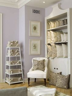 Lavender Bedroom with that built in Lavender Walls, Lavender Paint, Lavender Blue, Lilac, Girls Bedroom Colors, Purple Walls, Little Girl Rooms, New Room, Home Living Room