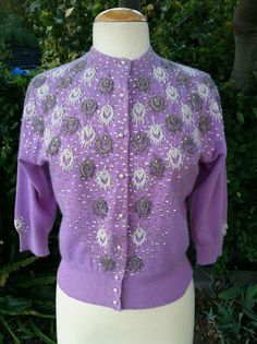 Vintage 1950's Lavender Beaded Lambs Wool Pin Up Cardigan Women's Sweater