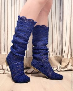 Crochet blue lace boots s ♥LCM-MRS♥ with diagram, use fine yarn.