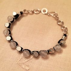 White chalcedony quartz bracelet hand wrapped with silver beads by HoneyMoonNYC on Etsy