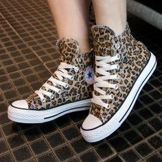Free shipping sneakers for women 2013 fashion Leopard print platform shoes men's cheap high tops canvas shoes lovers shoes $33.99