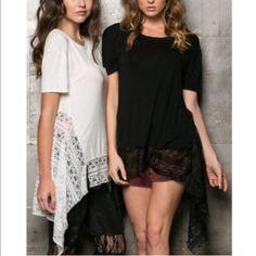 XX The DENISA crochet lace hem top -WHITE/BLACK Super soft cotton top with crochet lace hem & shark bite sides. ️AVAILABLE IN WHITE & BLACK. ‼️️NO TRADE‼️ Bellanblue Tops