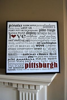 12x12 pittsburgh word art print framed in black by lexiconetc