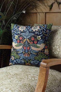 William Morris Strawberry Thief Cushion Cover Indigo Backed with Velvet Cushion Inserts, Cushion Covers, Tapestry Bag, Cushion Fabric, William Morris, Blue Velvet, Indigo, Cotton Fabric, Cushions