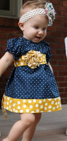 Girls Peasant Dress  Navy Blue and Yellow Polka by amybenedetti, $35.00  Daniela has to have this dress!!!!