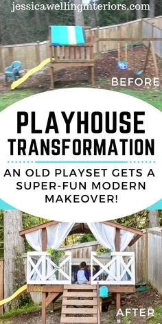 An old kids backyard playset gets a super-fun diy remodel complete with table and chairs a slide ladder curtains and even a reading nook! This fort is the perfect spot for kids to play all day! Backyard Fort, Backyard Playset, Backyard For Kids, Backyard Ideas, Outdoor Areas, Outdoor Area Rugs, Outdoor Structures, Play Structures, Outdoor Play