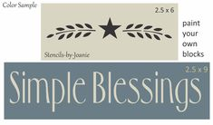 Joanie Stencil Prim Blessings Chunky Block Crafts Country Family Home Decor sign