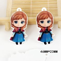 50pcs 46*23mm Cartoon Anna The Princess Flatback Resin Acrylic Charms Planar Resin DIY Craft Jewelry Accessories DL-578
