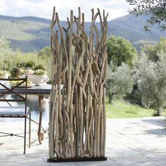 paravent en bois flotté pour délimiter l'espace de vie : idées sur l'aménagement intérieur et extérieur