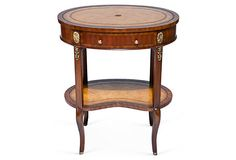 """Oval Leather-Top End Table 25.5""""L x 18""""W x 30.5""""H"""